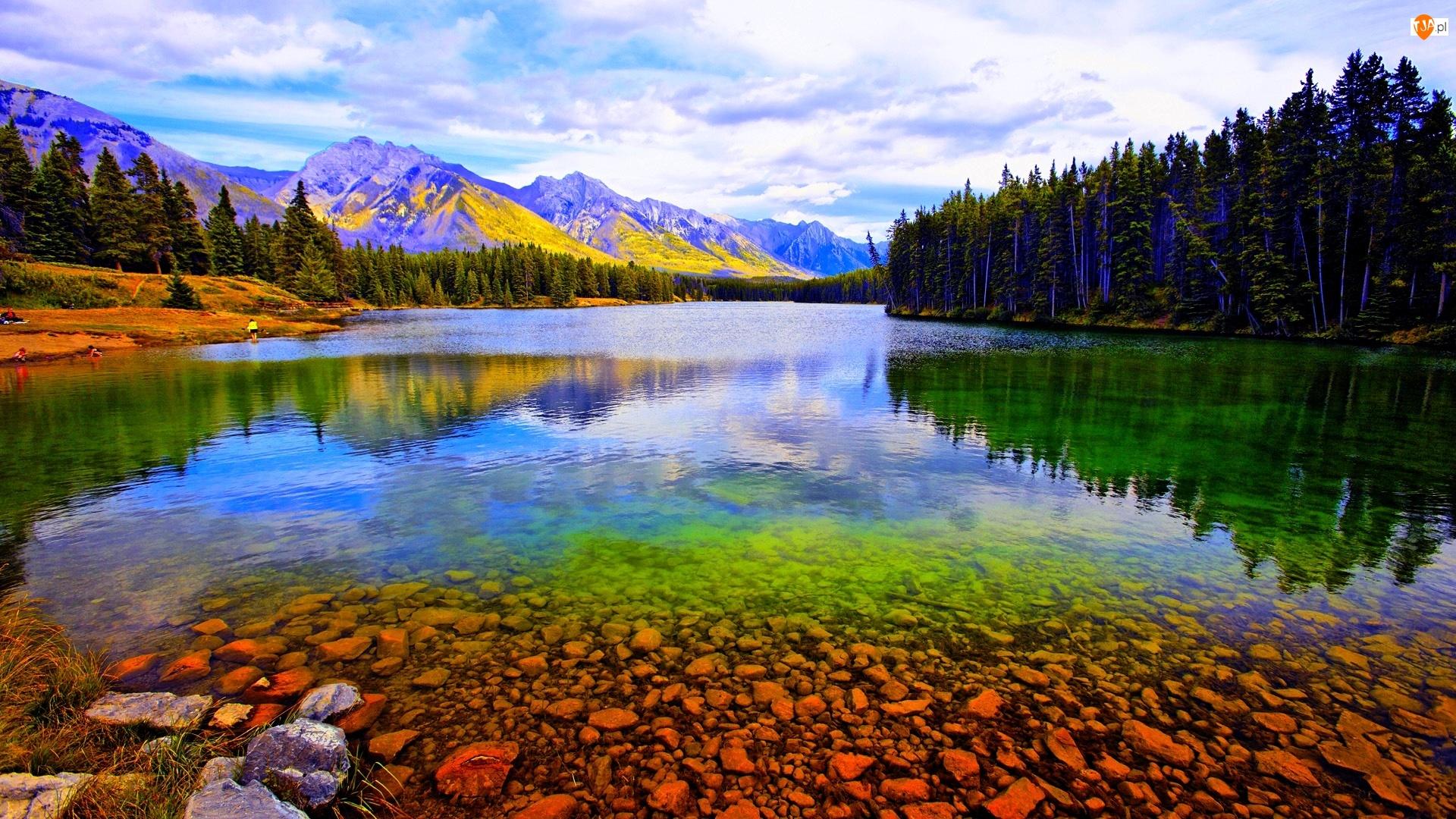 Alberta, Jezioro, Góry, Lasy, Banff