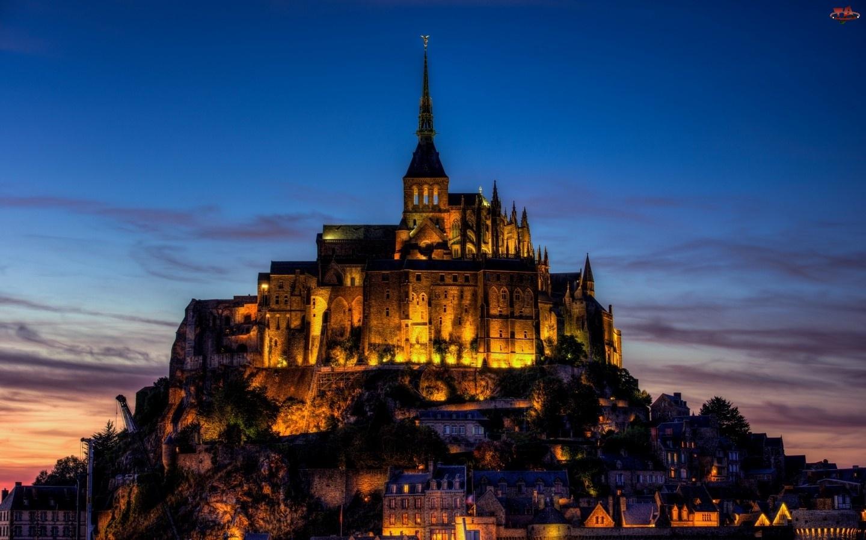 Oświetlony, Francja, Klasztor, Saint Michel