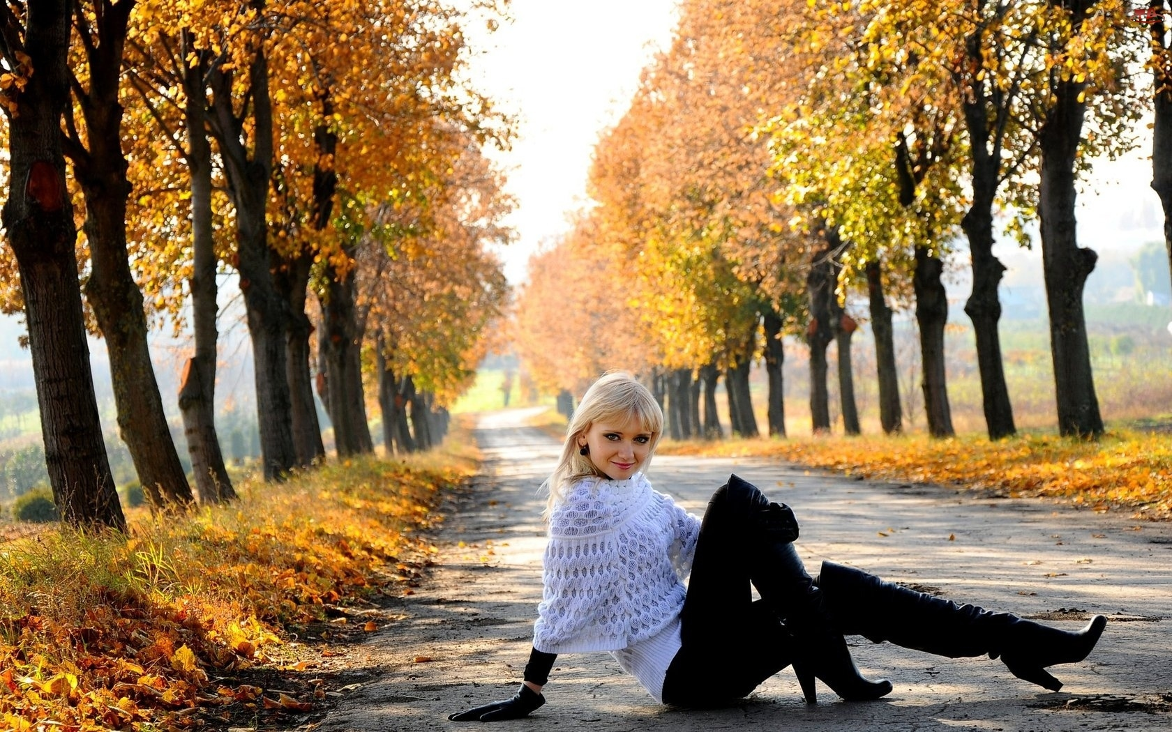 Droga, Liście, Młoda, Jesień, Dziewczyna, Drzewa