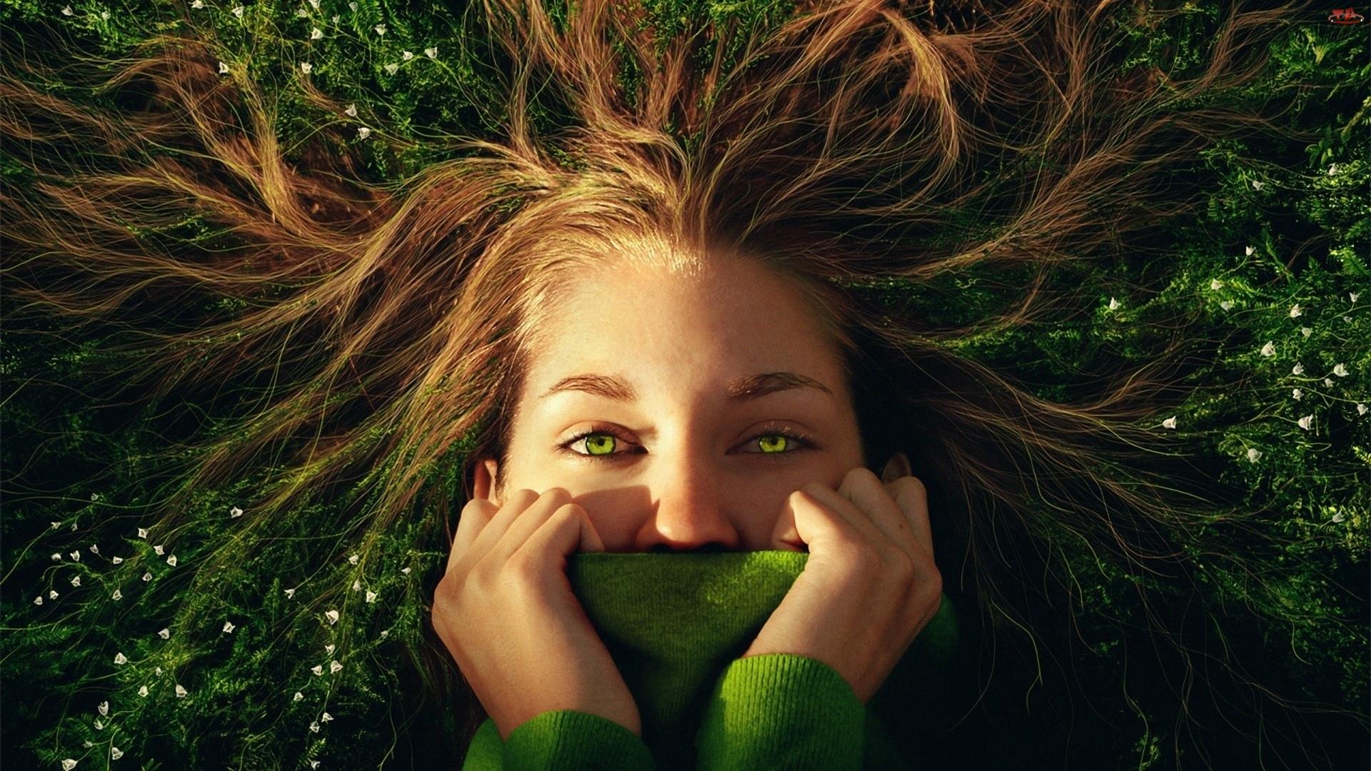 Zielone, Zakryte, Twarz, Rozwiane, Kobieta, Włosy, Oczy, Usta