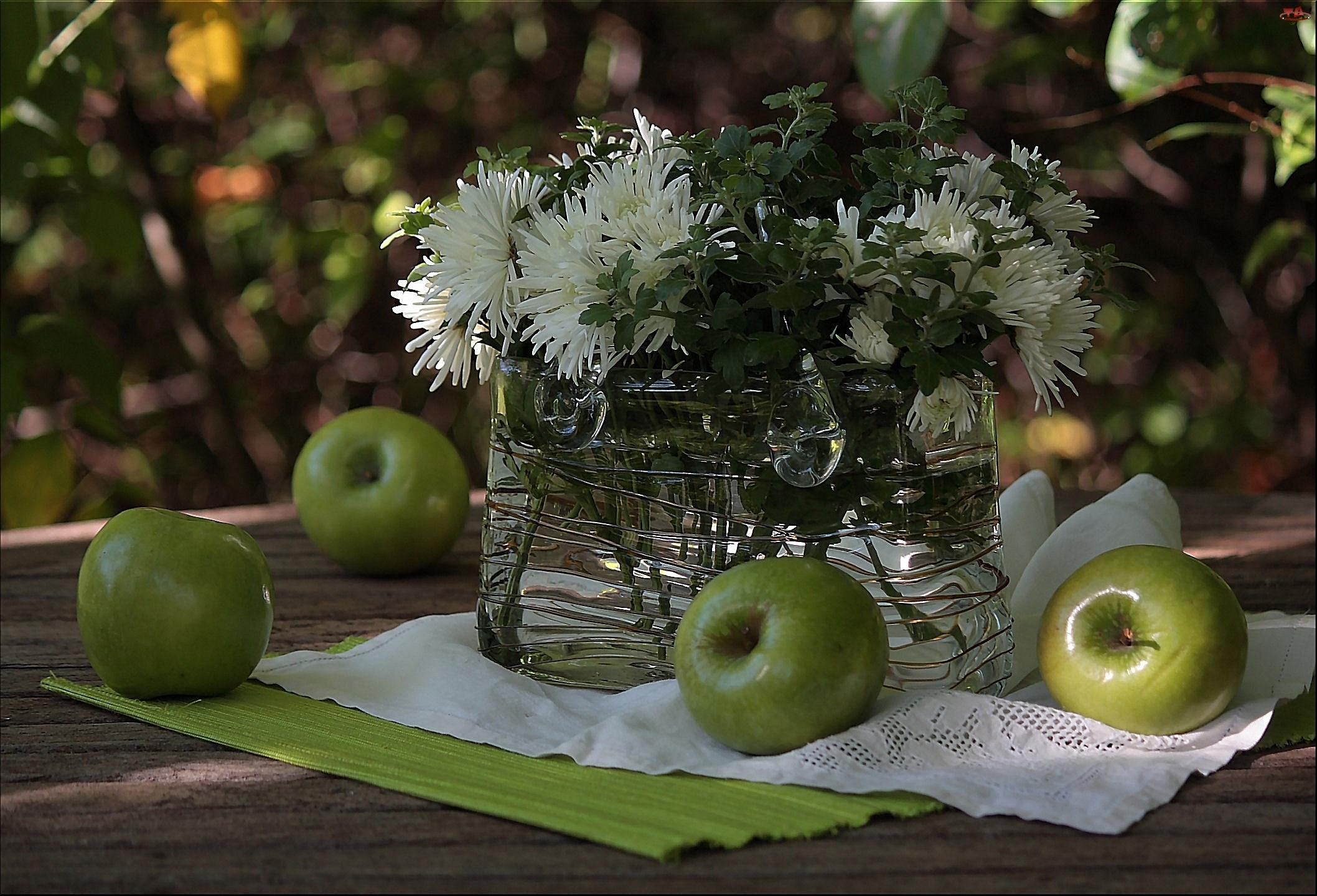 Kompozycja, Białe, Chryzantemy, Jabłka