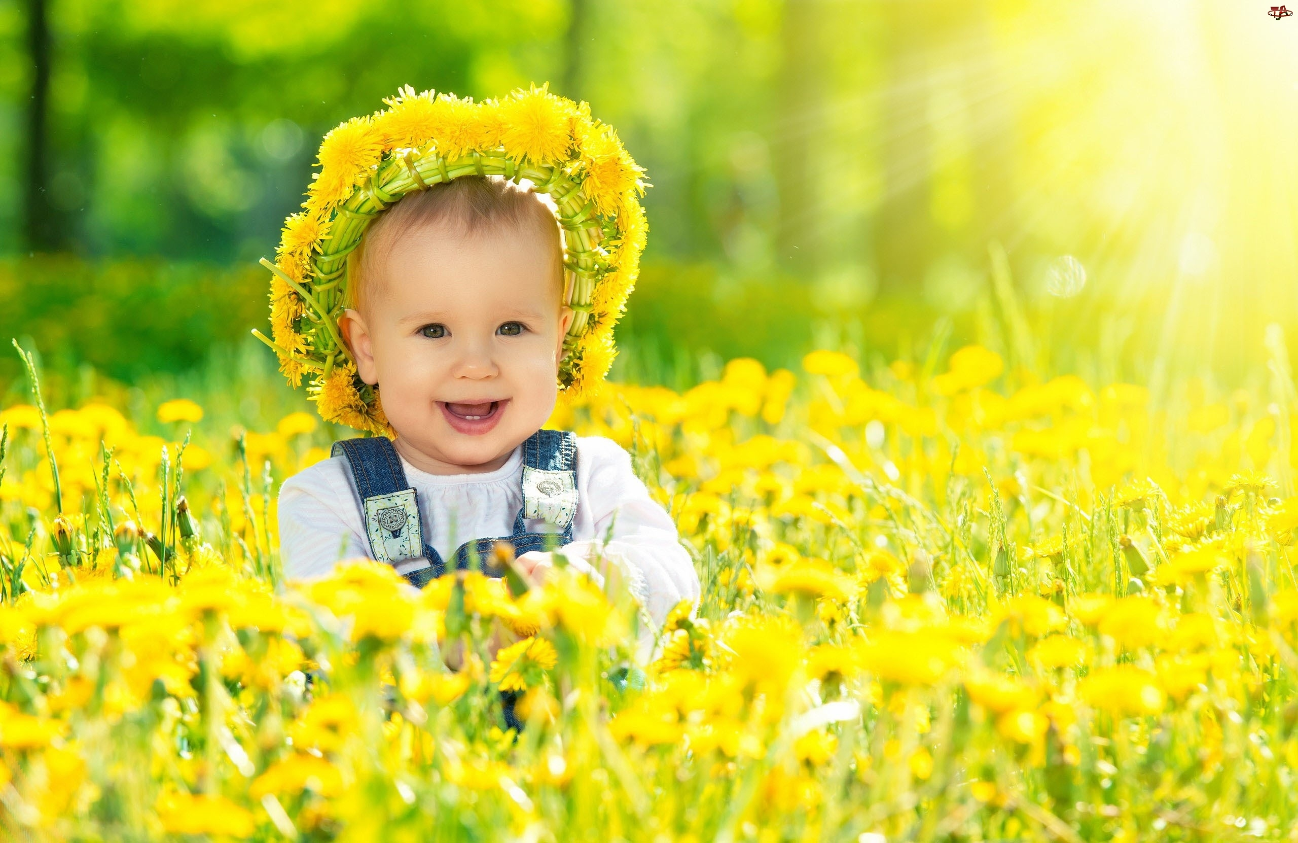 Kwiaty, Dziecko, Wianek