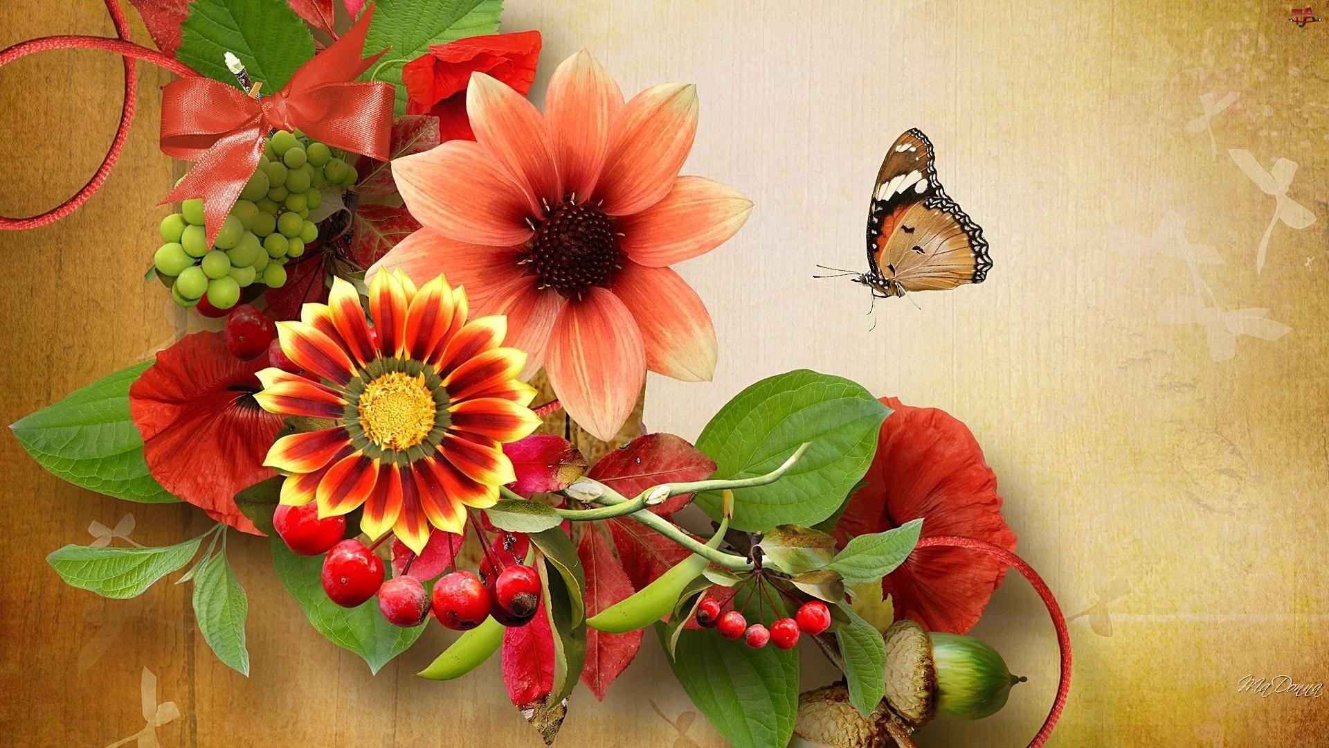 Jesienne, Art, Kwiaty, Motyl