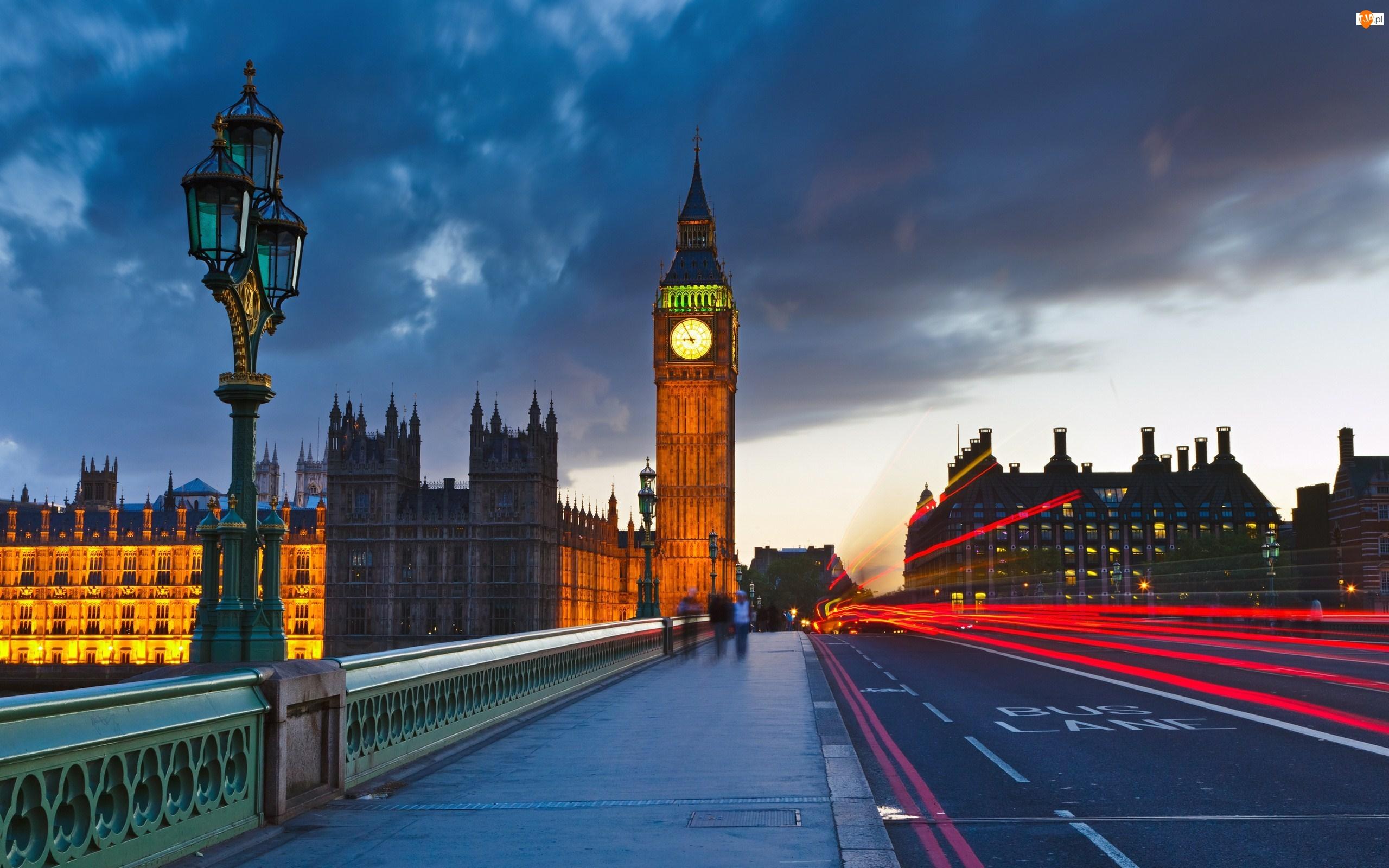 Ludzie, Big Ben, Miasto, Londyn, Most, Zabytki, Ulica