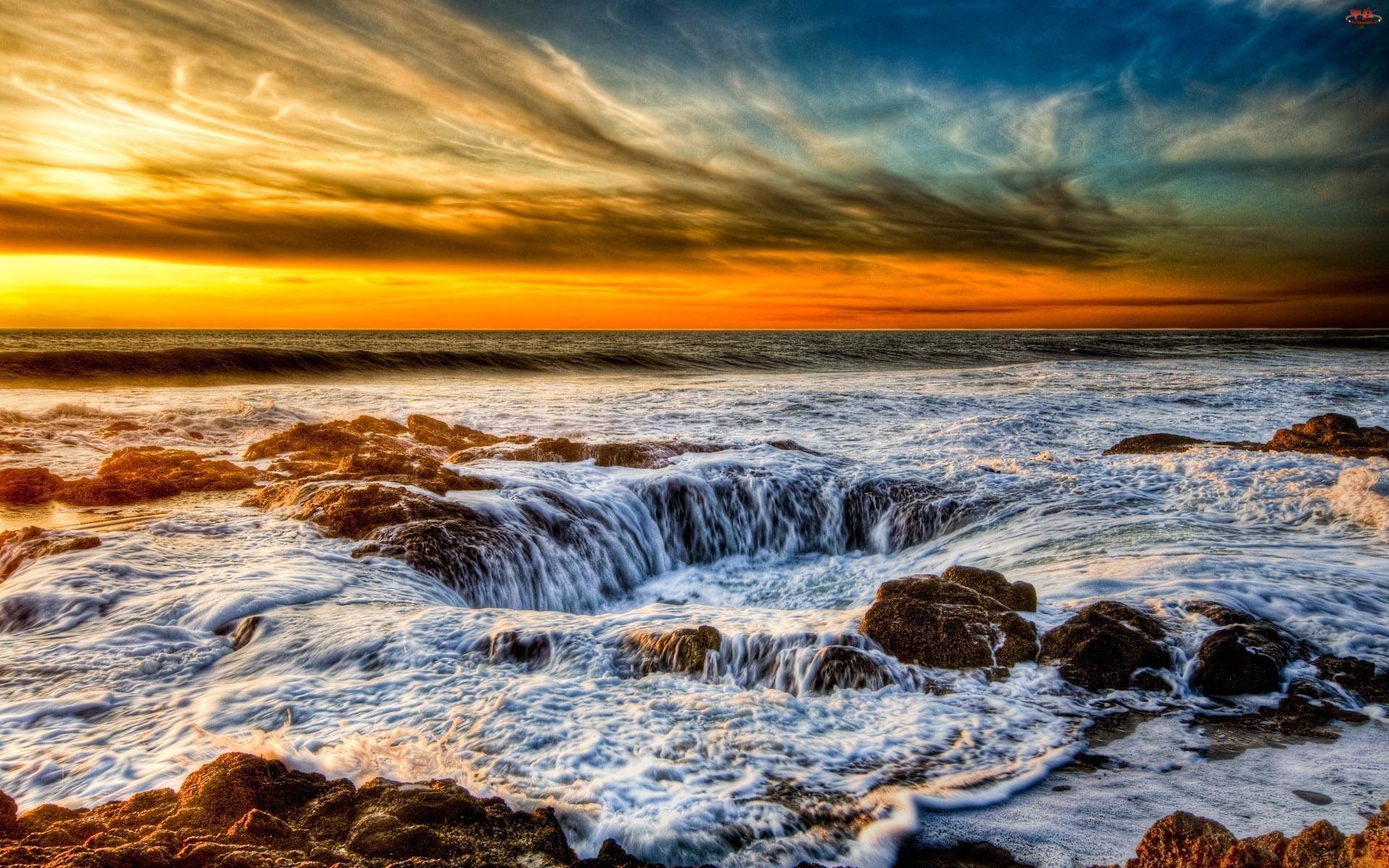 Morze, Słońca, Skały, Zachód