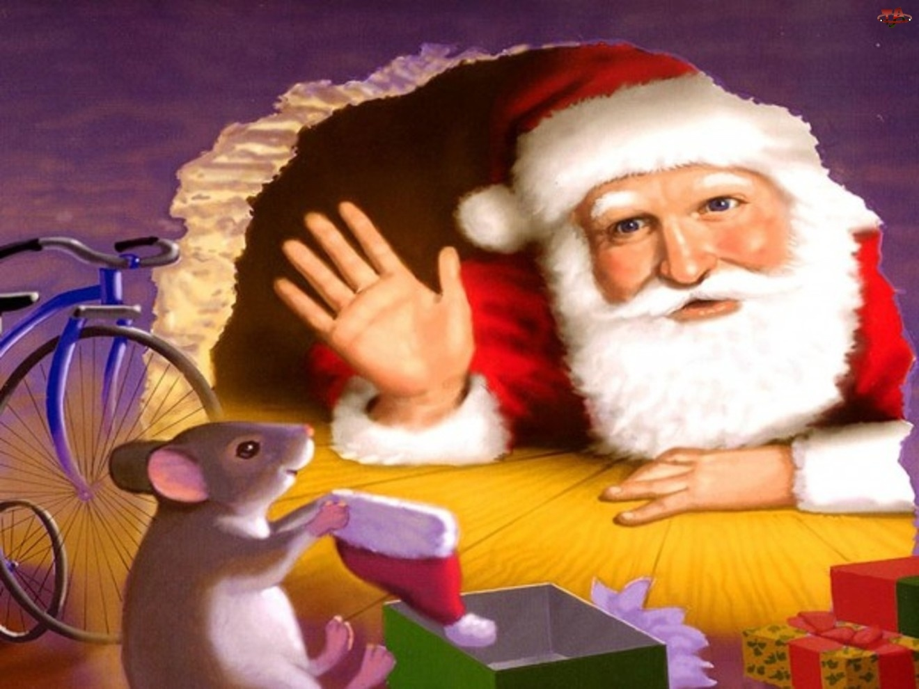 Mikołaj, Podłoga, Mysz, Dziura