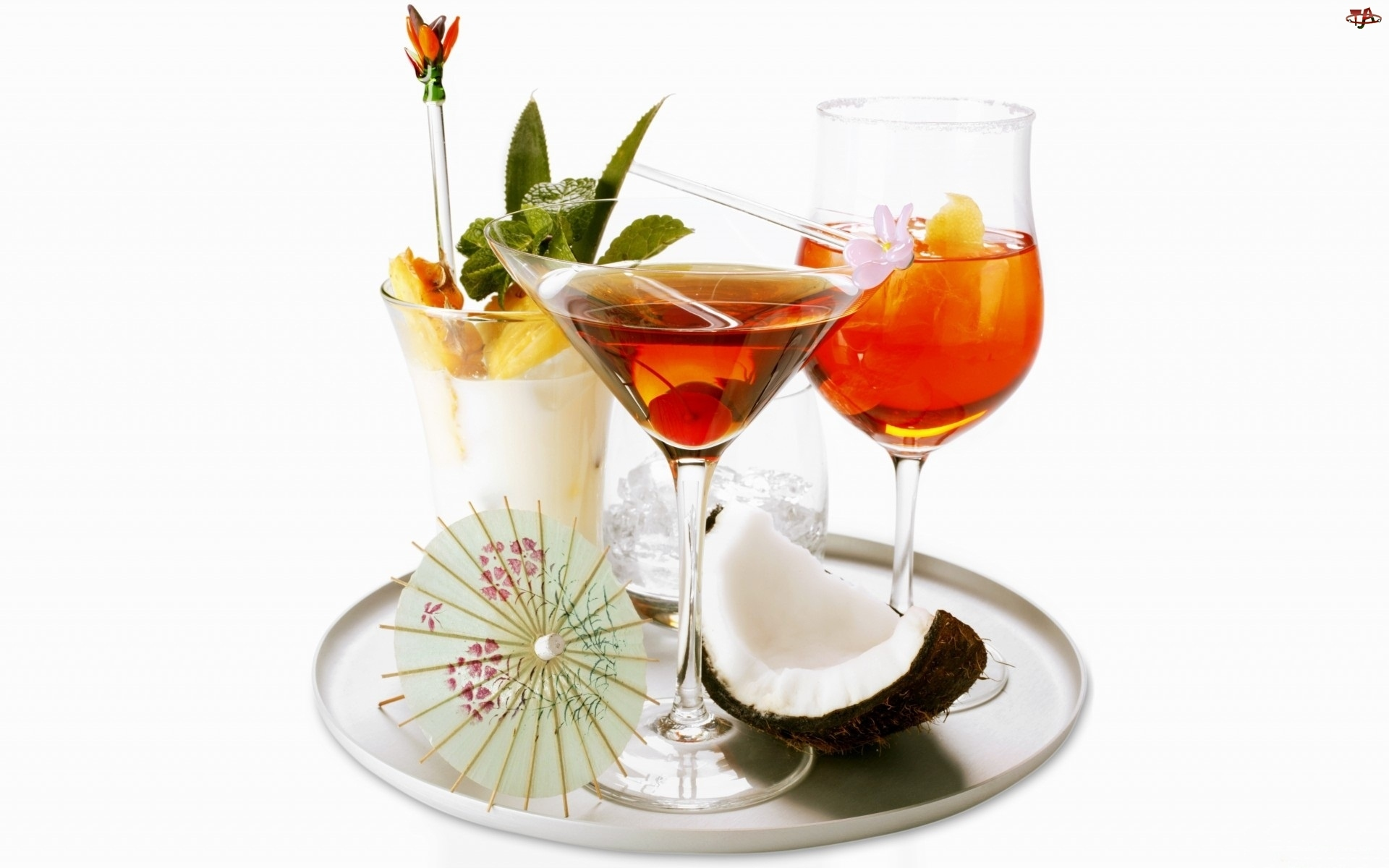 Egzotyczne, Parasolka, Drinki, Tacka
