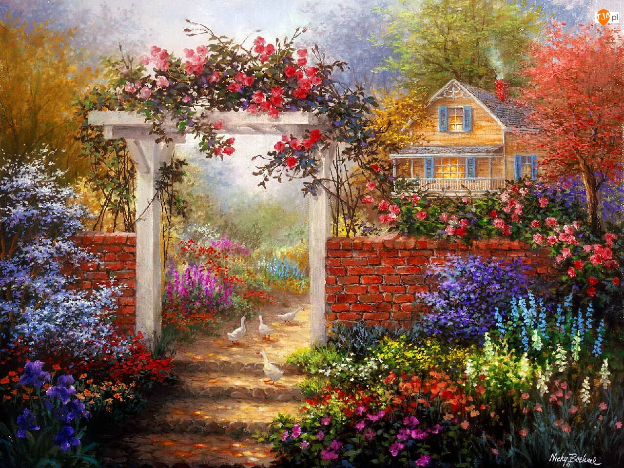 Kwiaty, Ogród, Dom