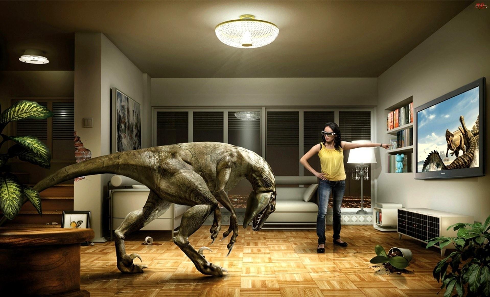 Telewizor, Kobieta, Dinozaur