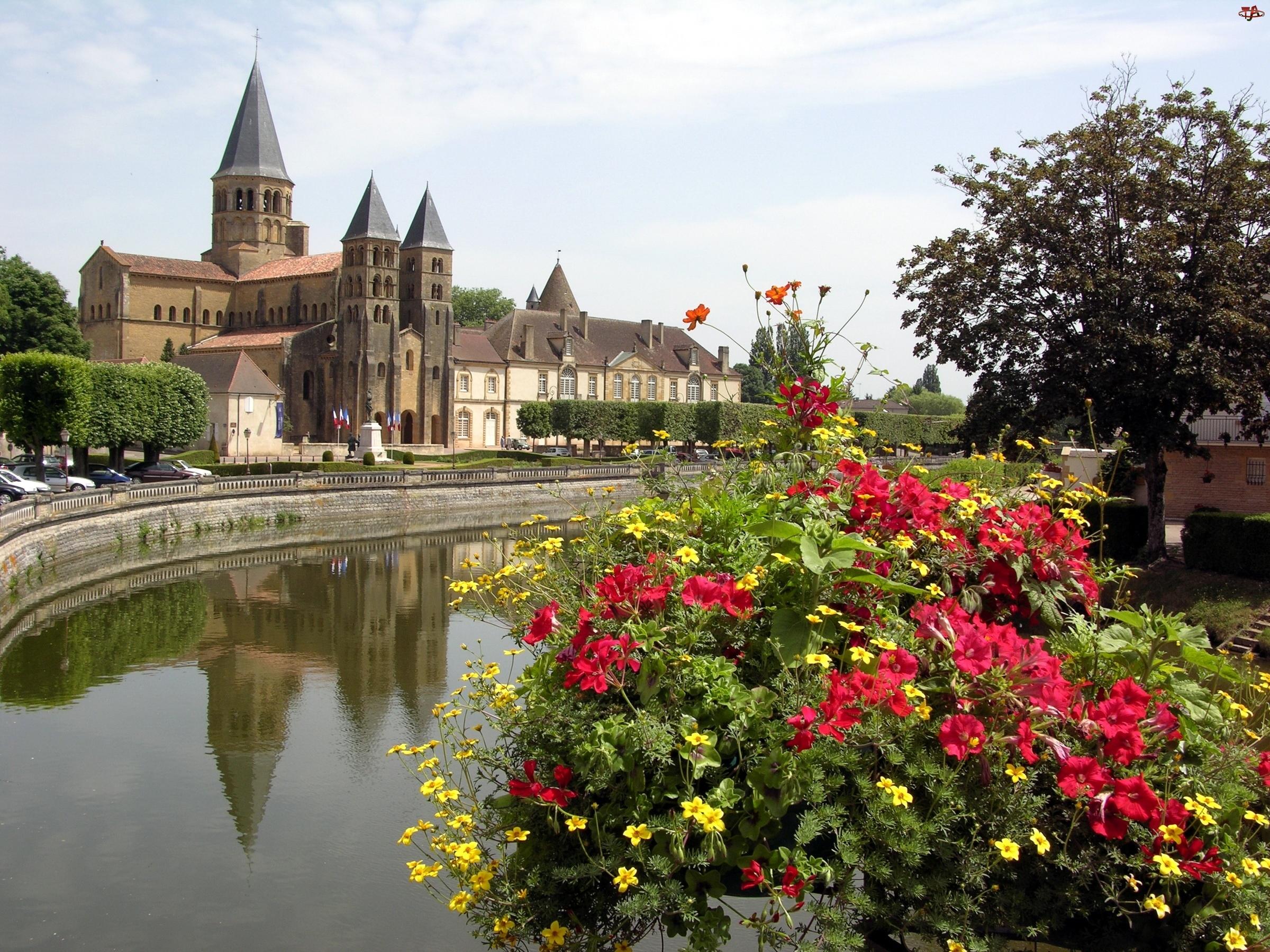 Le Monial, Rzeka, Burgundia, Kwiaty, Parey, Zamek