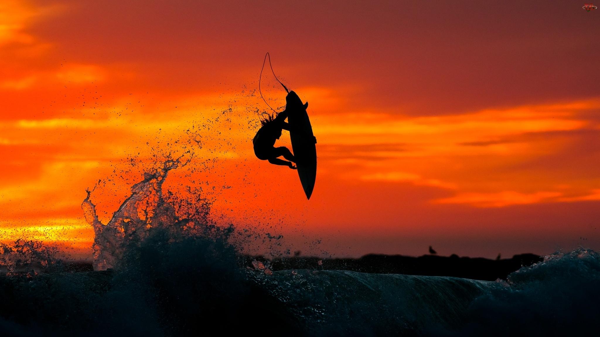Surfing, Zachód, Morze, Słońca, Mężczyzna