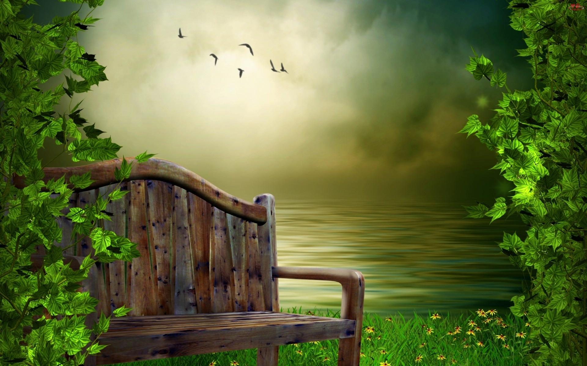 Liście, Ławka, Jezioro