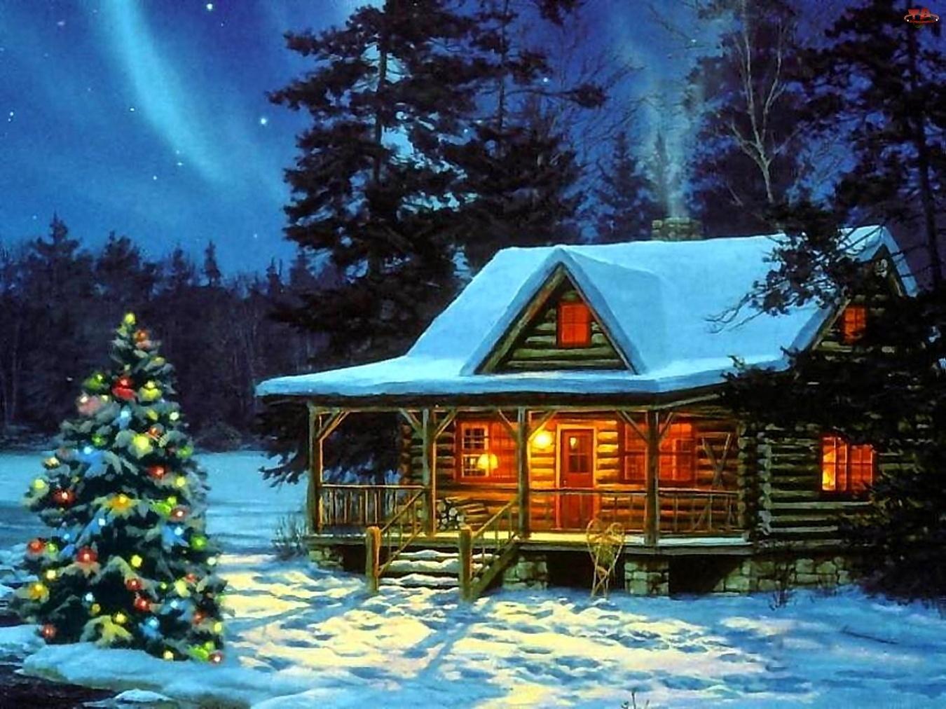 Zima, Narodzenie, Dom, Malarstwo, Choinka, Boże