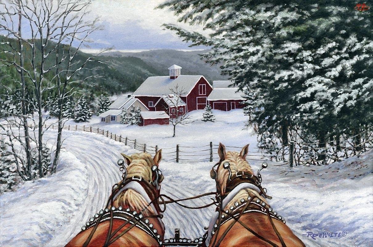 Droga, Malarstwo, Konie, Zima