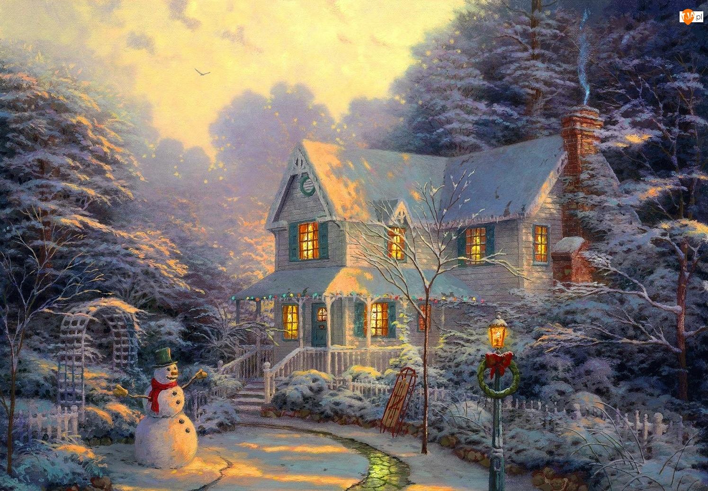 Dom, Narodzenie, Zima, Obraz, Bałwan, Boże