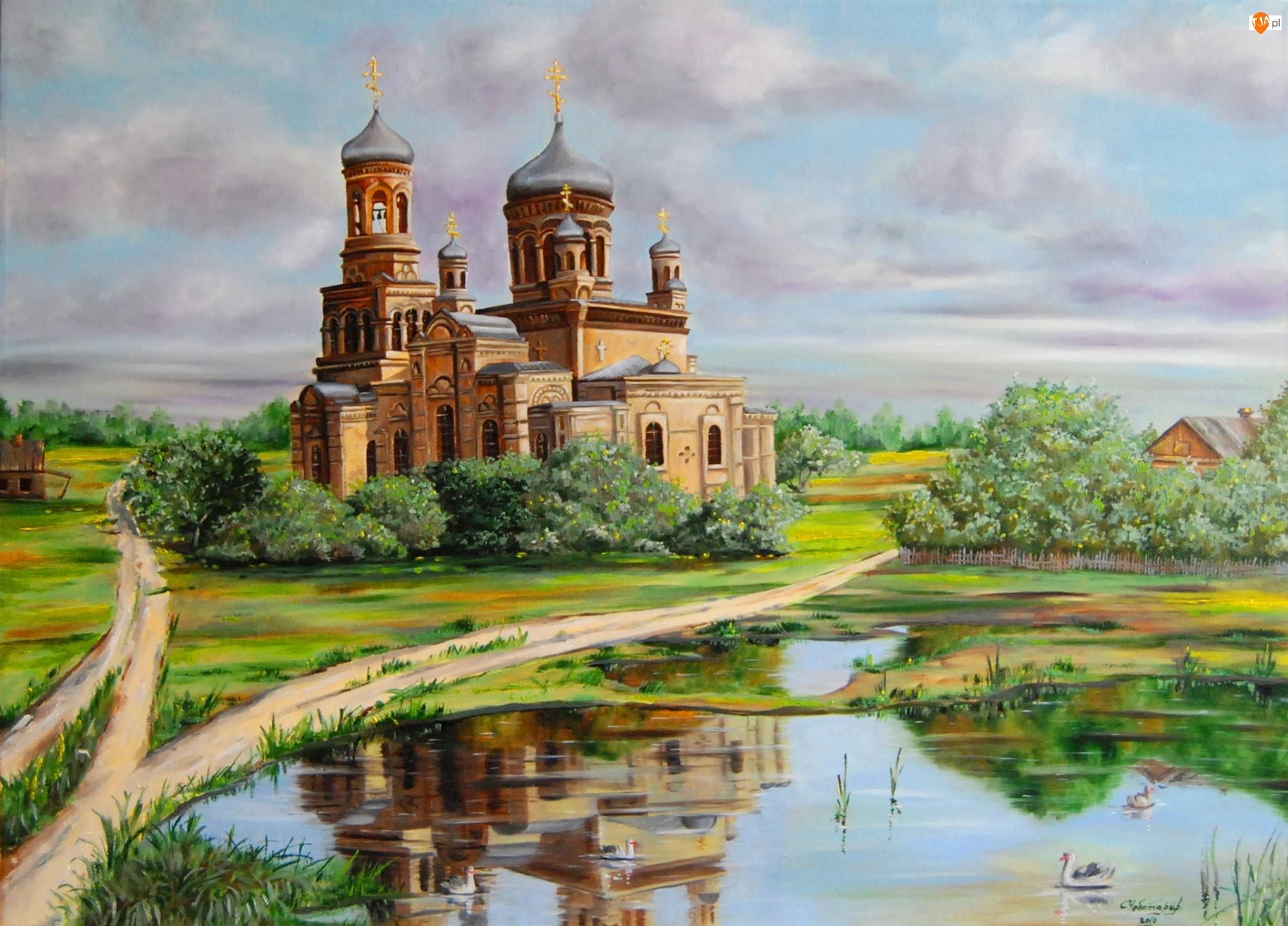Odbicie, Kościół, Dróżki, Cerkiew, Staw