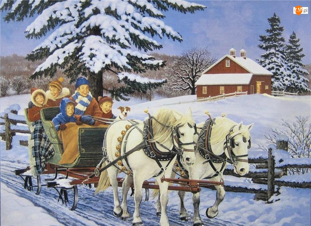 Zima, Malarstwo, Sanie, Śnieg