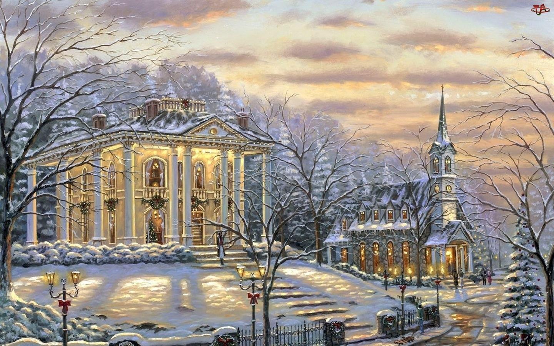 Zima, Narodzenie, Dom, Malarstwo, Kościół, Boże