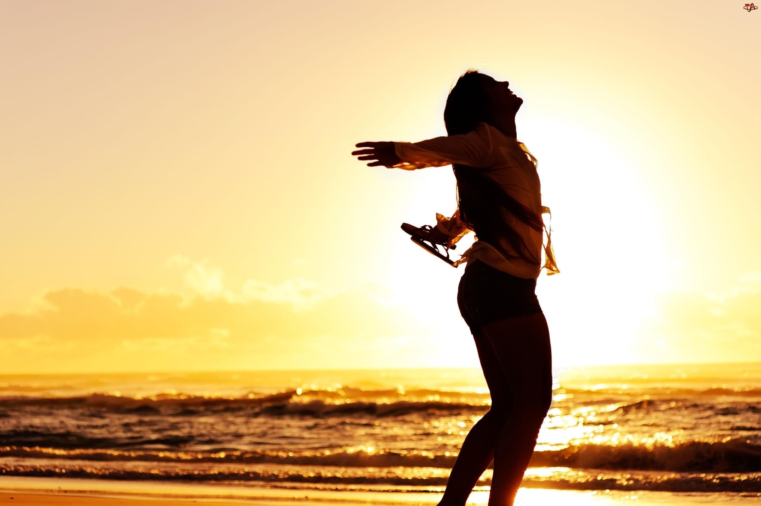 Zachód, Kobieta, Słońca, Morze