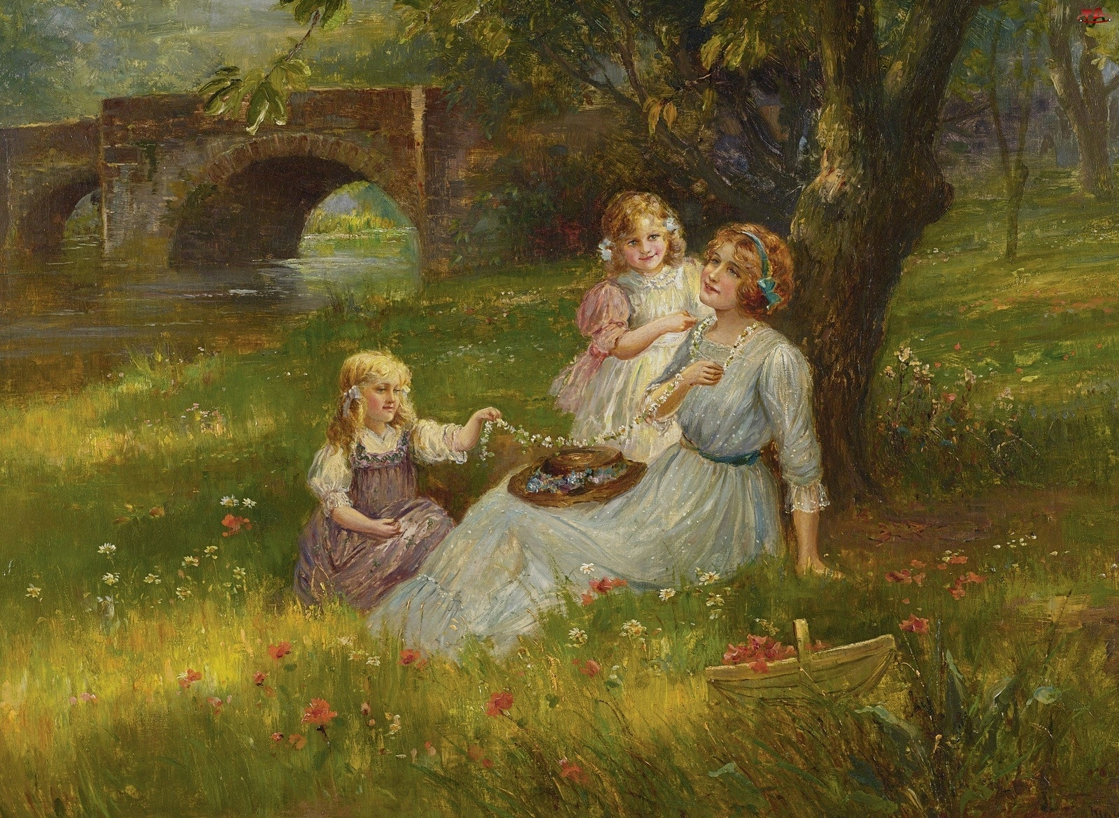Kwiatki, Kobieta, Dziewczynki, Dwie, Łąka