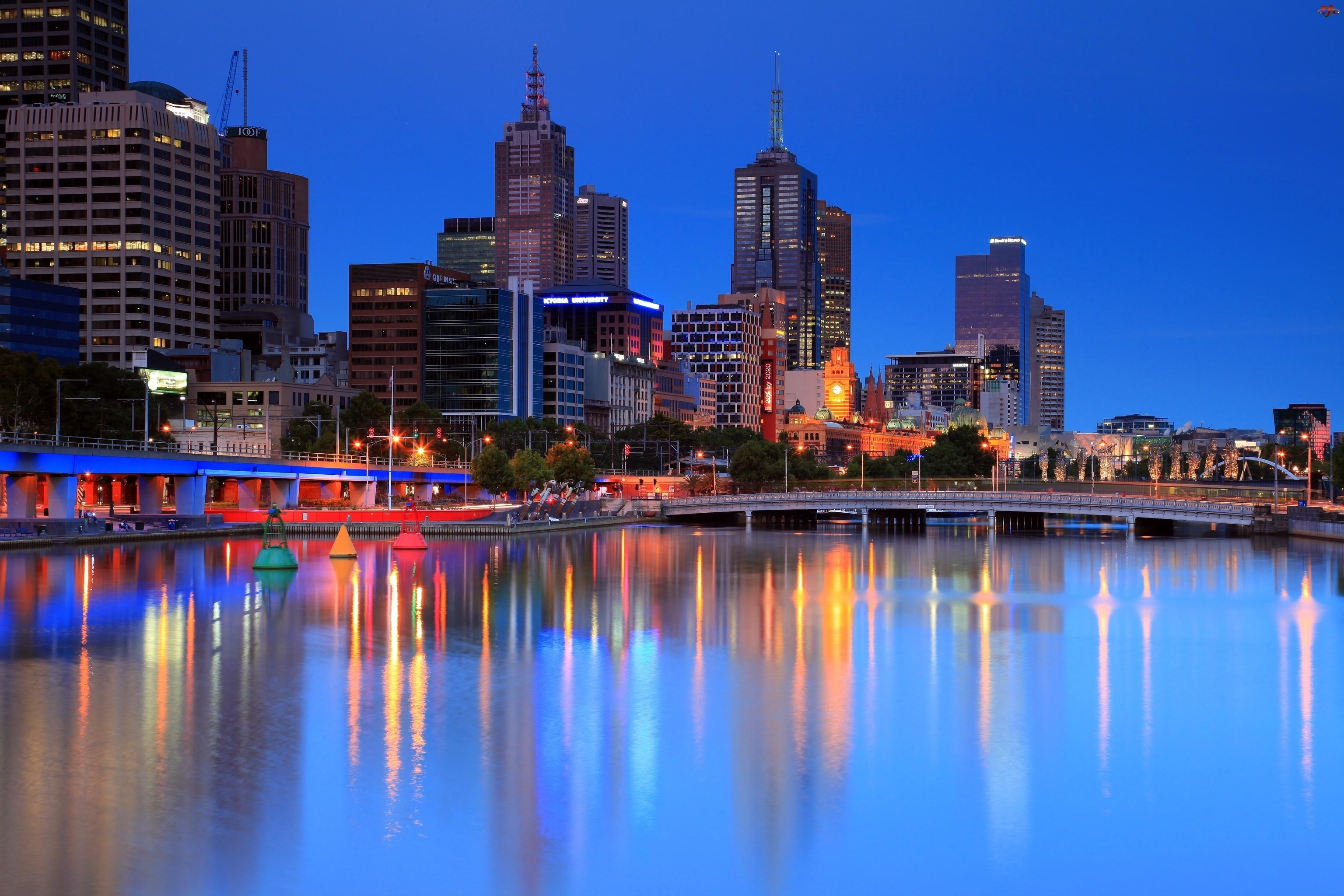 Australia, Wieżowce, Rzeka, Most, Melbourne