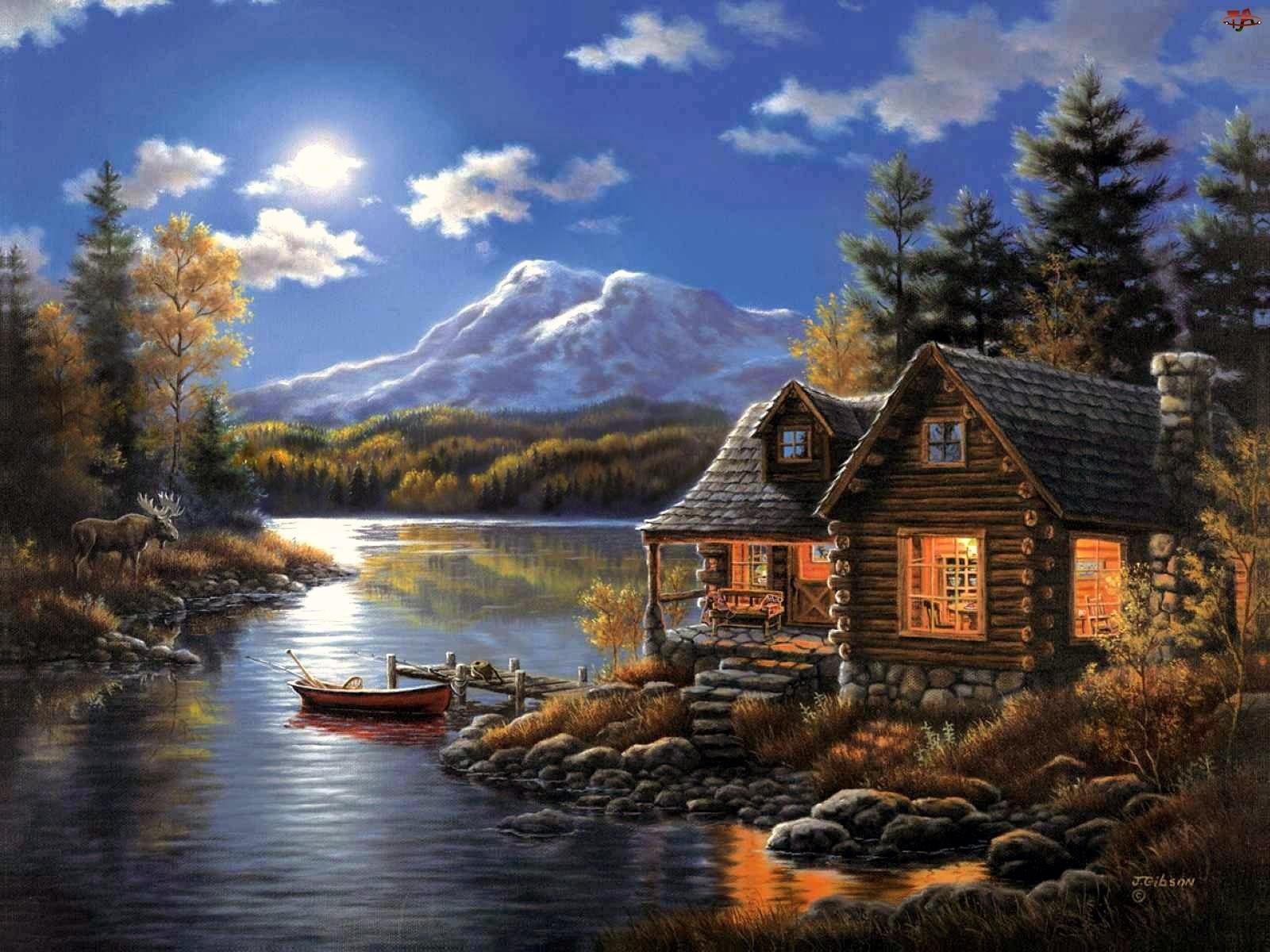 Słońce, Domy, Jezioro, Góry, Łódka
