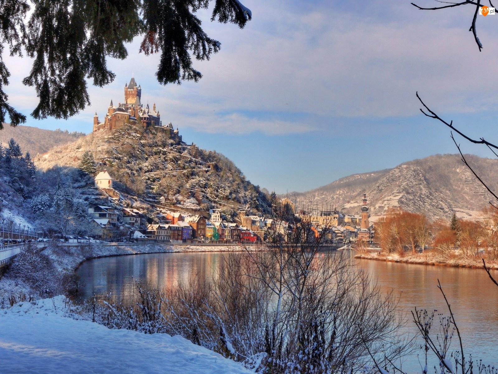 Zima, Zamek Reichsburg, Niemcy, Miasto Cochem, Rzeka Mozela