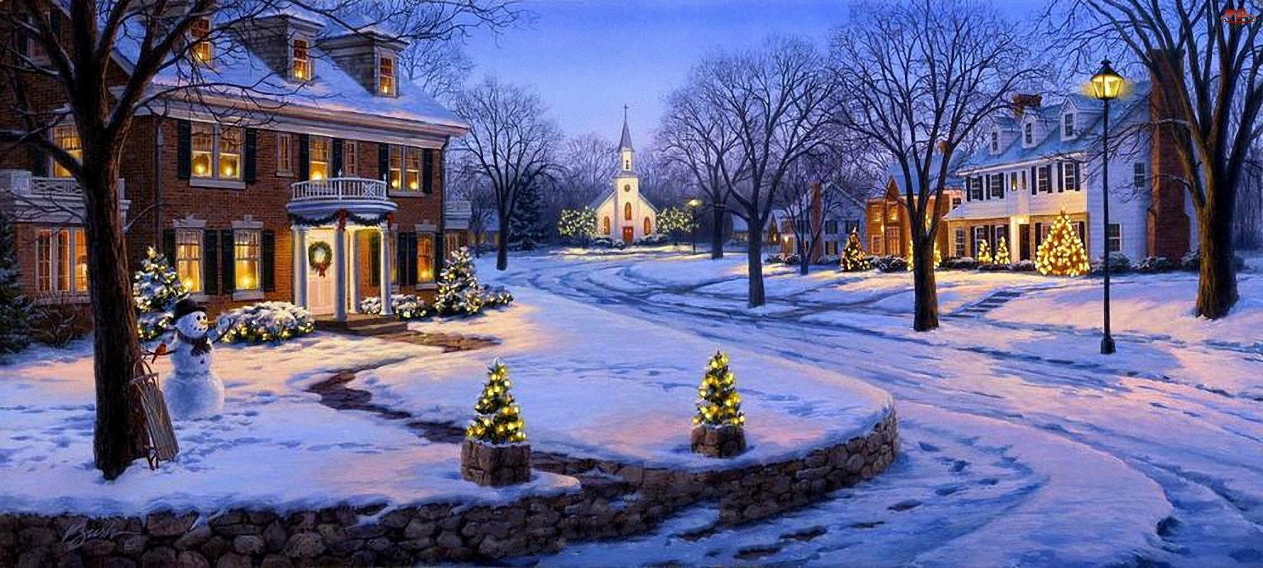Zima, Narodzenie, Domy, Malarstwo, Ulica, Boże