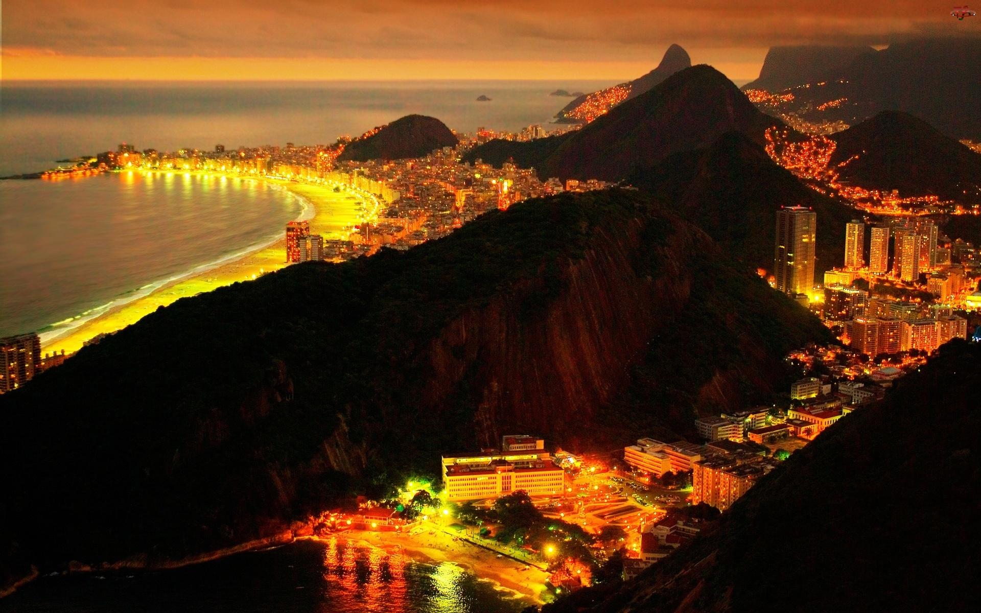 Rio de Janeiro, Nocą, Brazylia, Panorama
