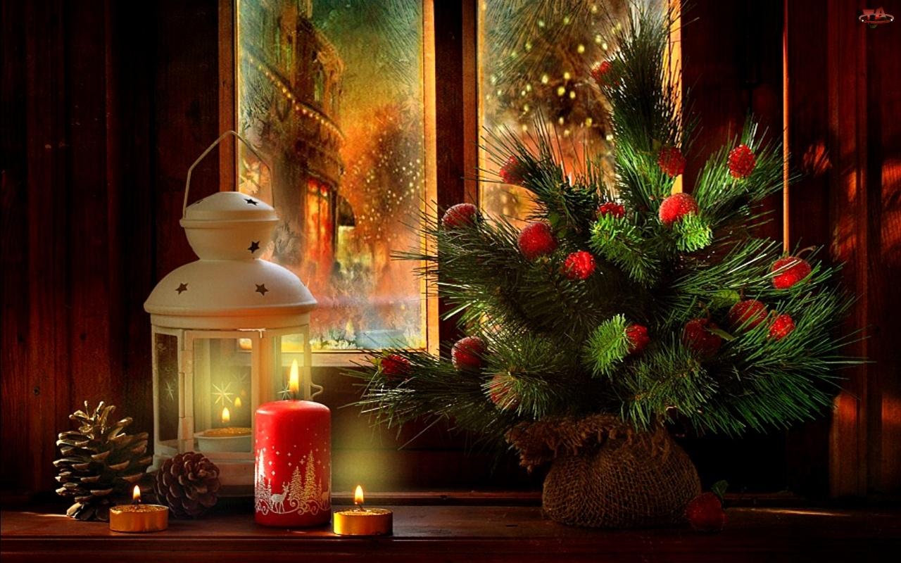 Stroik, Boże Narodzenie, Świeca, Okno