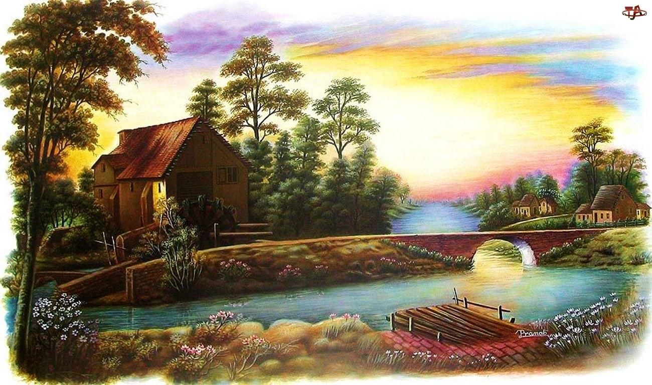 Dom, Pomost, Rzeka, Most
