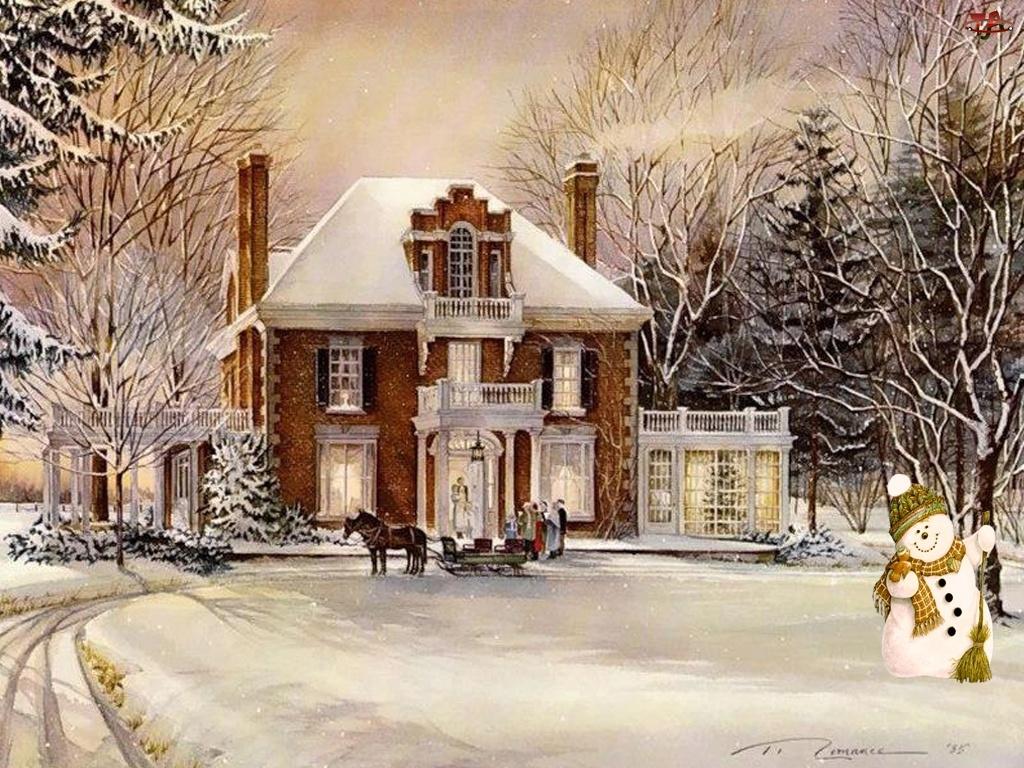 Dom, Malarstwo, Bałwan, Zima