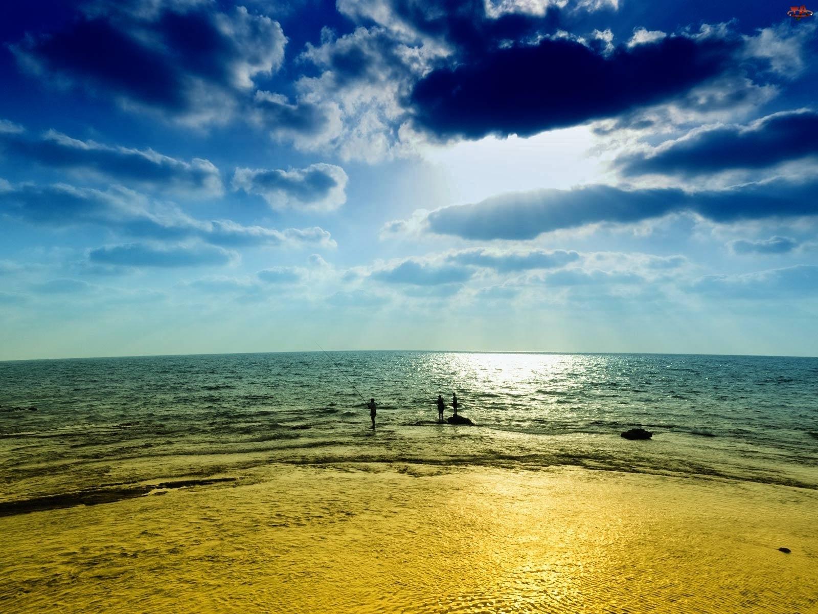 Chmury, Morze, Wędkarze