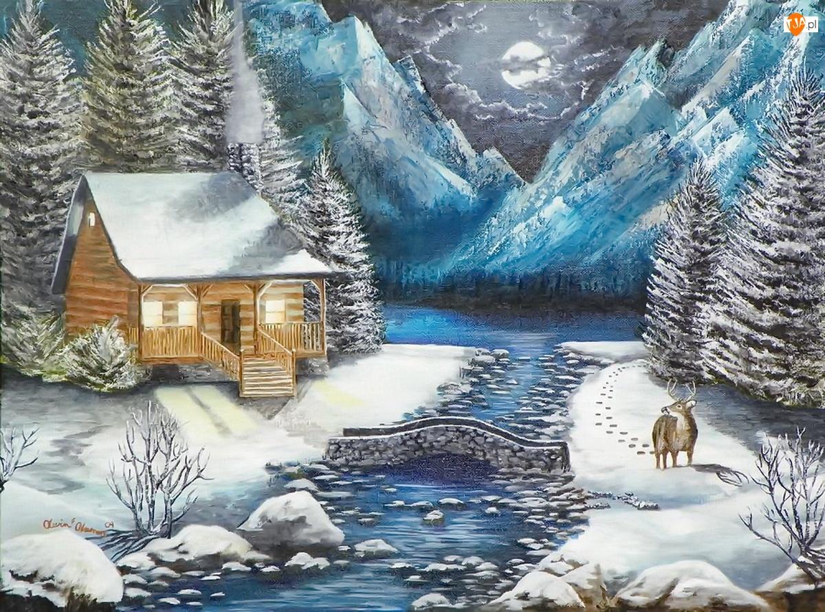 Góry, Rzeka, Widoczek, Malarstwo, Zima, Domek
