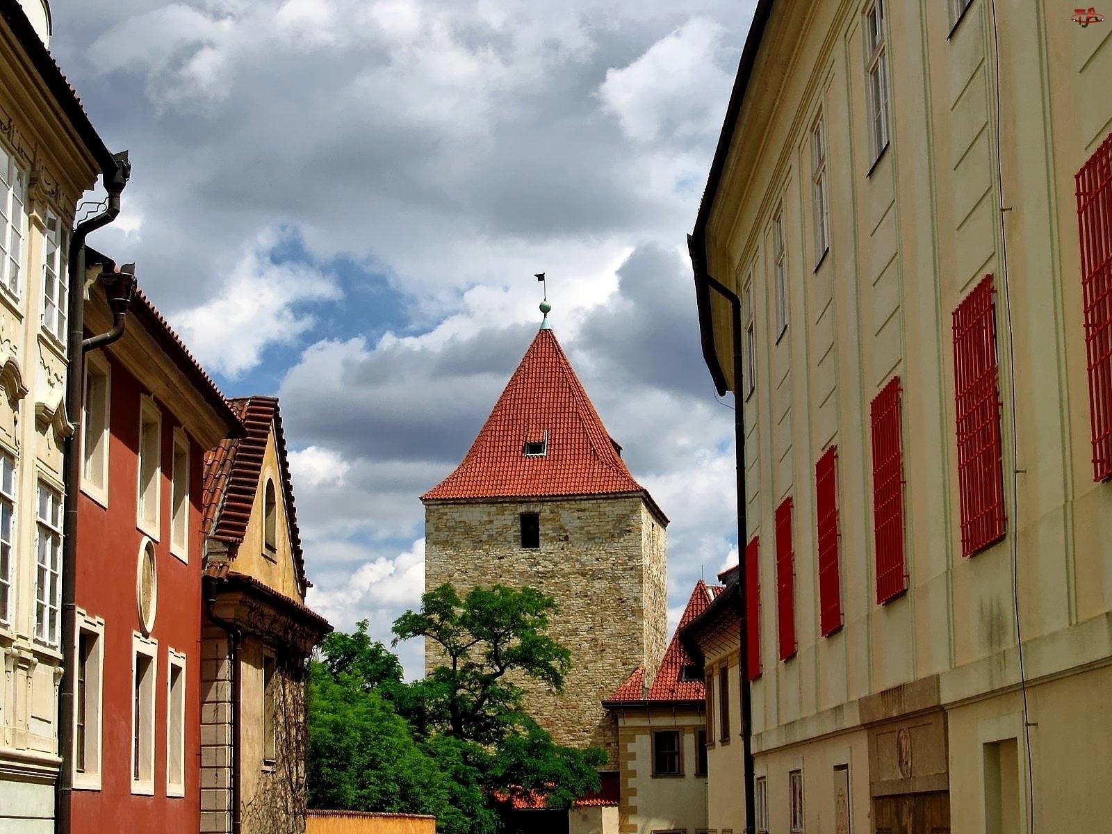 Domy, Akacja, Praga, Chmury, Zabytki, Ulica