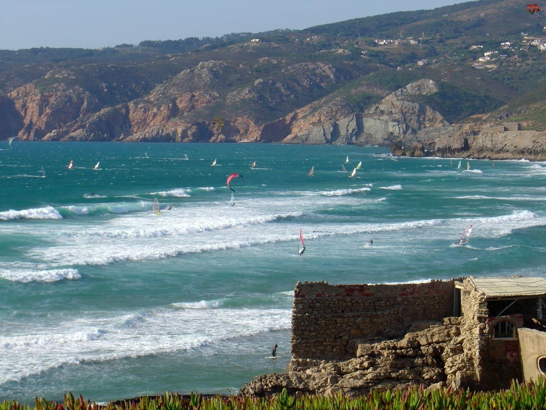Hiszpania, Wybrzeże, Morze, Skaliste, Surfing