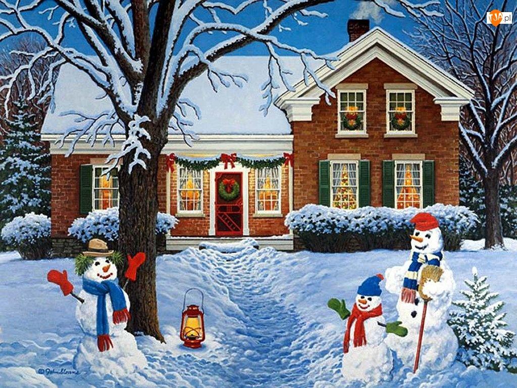 Zima, Narodzenie, Bałwany, Malarstwo, Dom, Boże