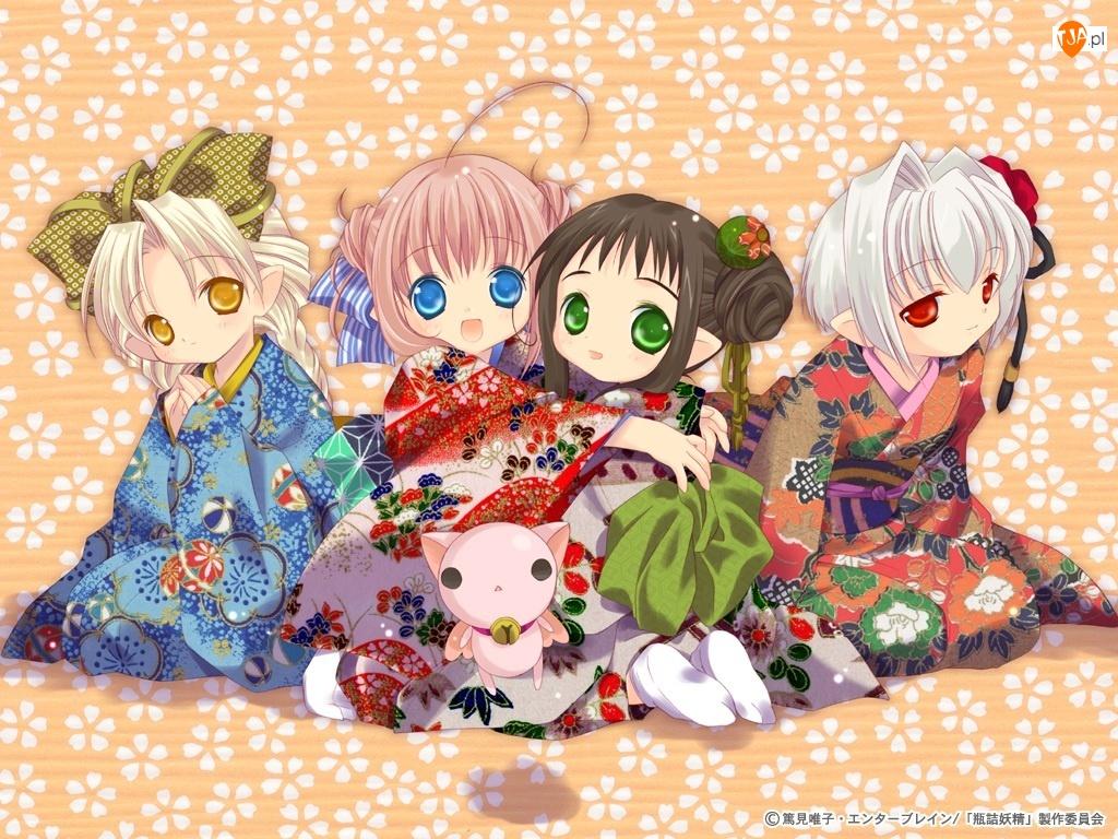 Bottle Fairy, kotek, kimona, dziewczyny