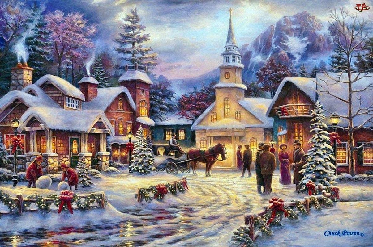 Malarstwo, Kościół, Boże, Domy, Narodzenie