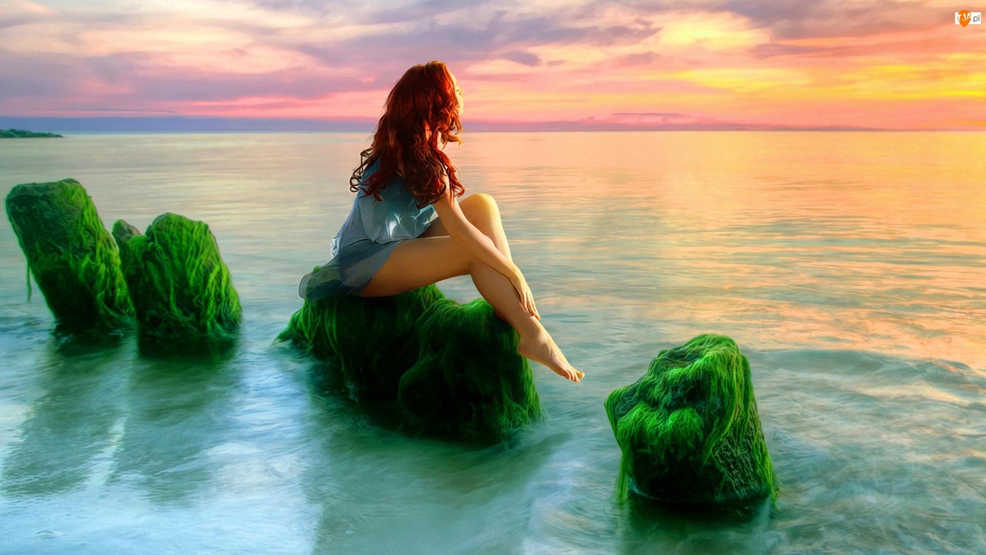 Morze, Kobieta, Zachód, Słońca