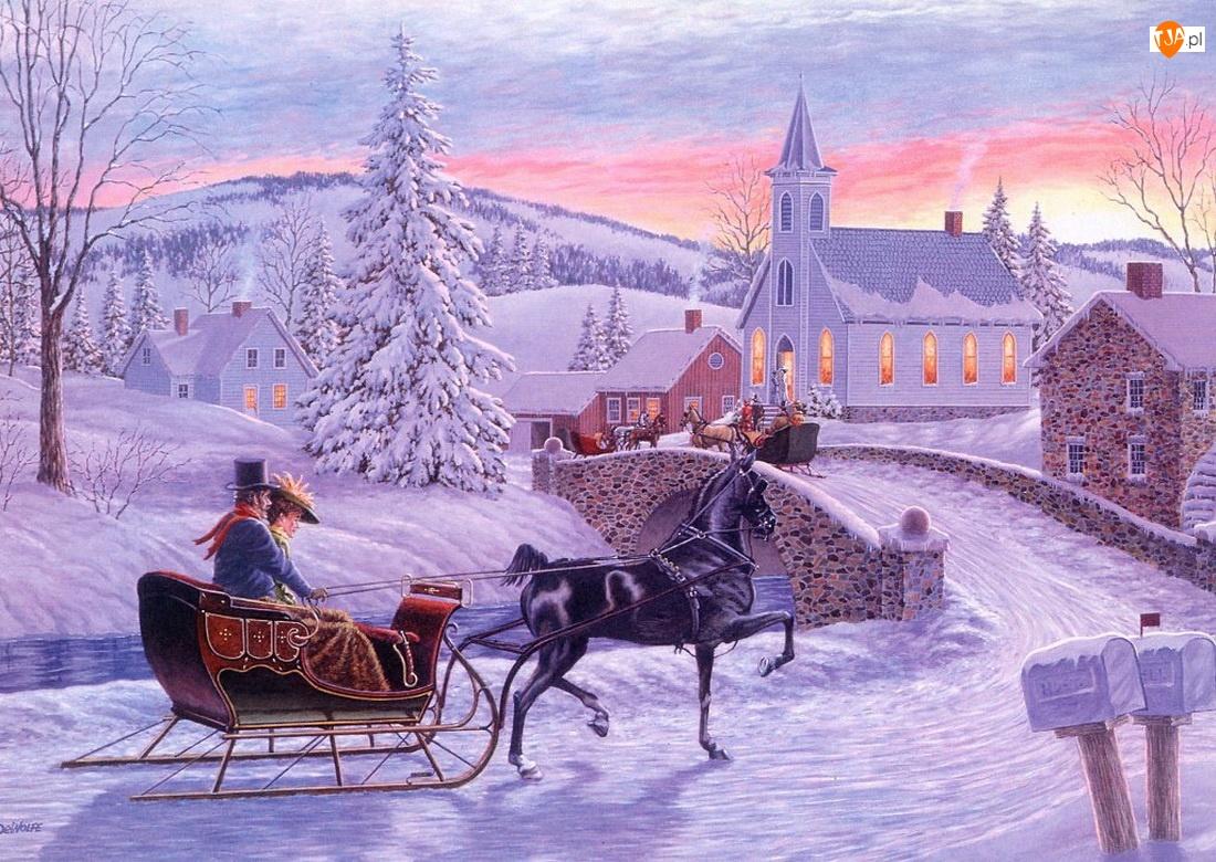 Zima, Malarstwo, Sanie, Kościół