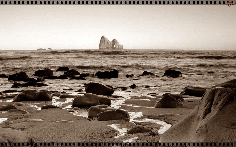 Morze, Sepia, Fale, Skały