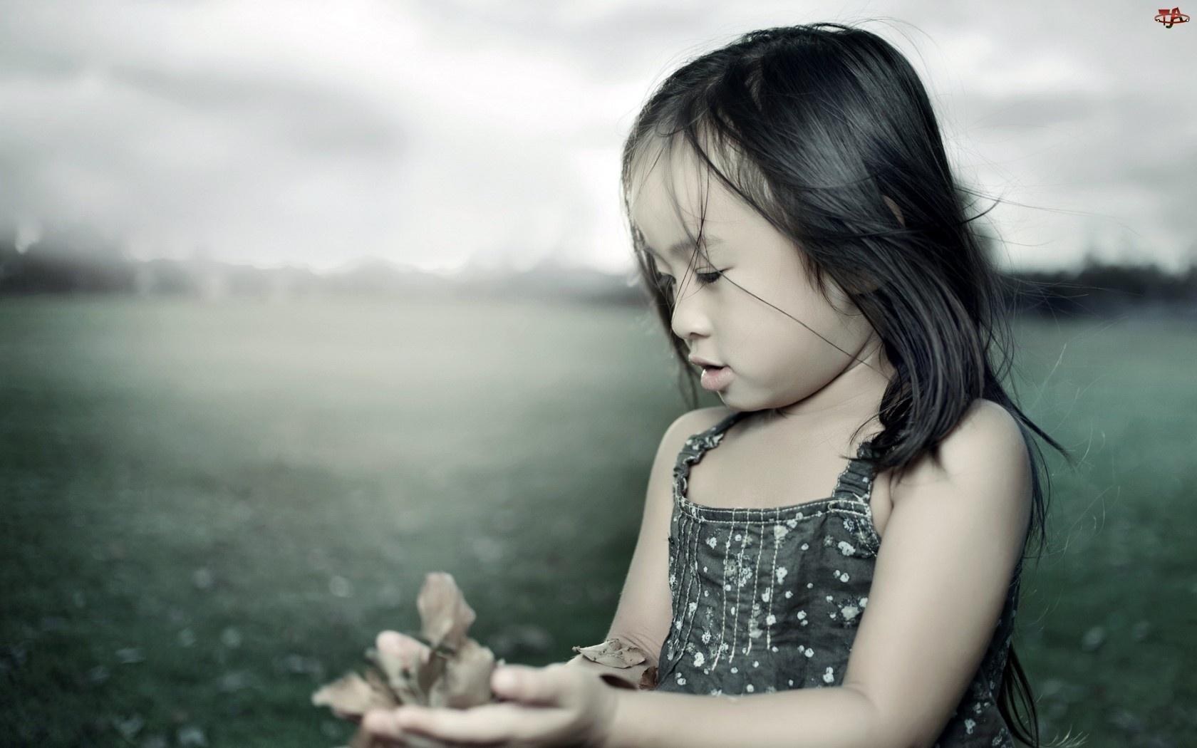 Mała, Liście, Dziewczynka, Rączki