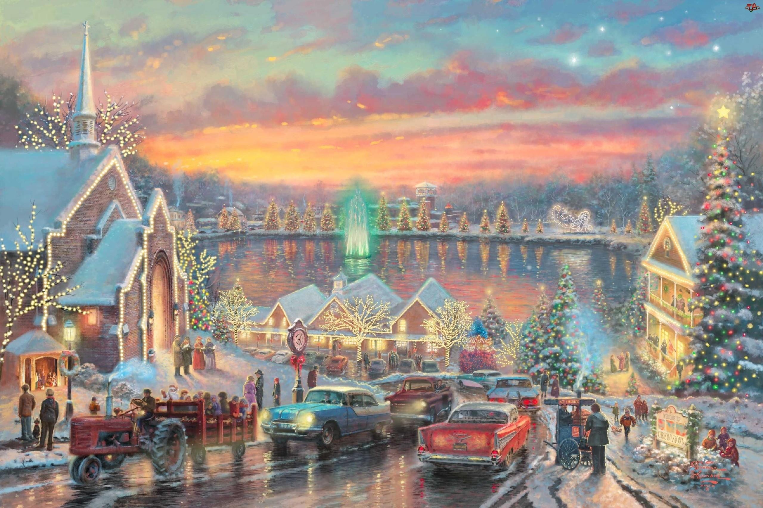Ulica, Boże Narodzenie, Oświetlone, Domy