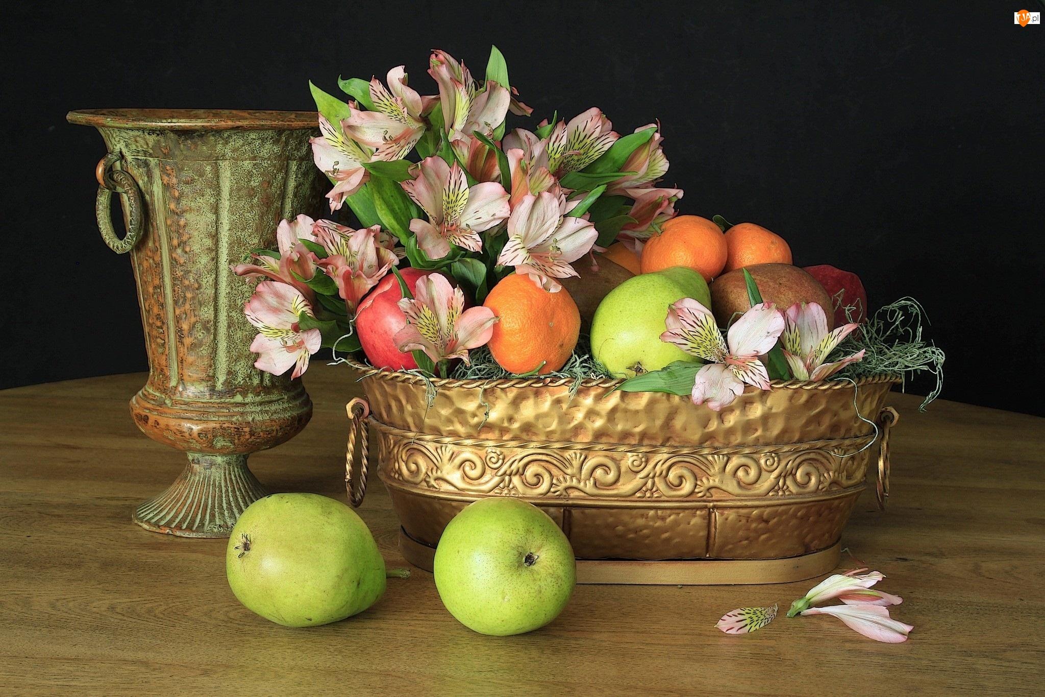 Mosiężne, Martwa natura, Kwiaty, Owoce, Wazy, Alstremeria