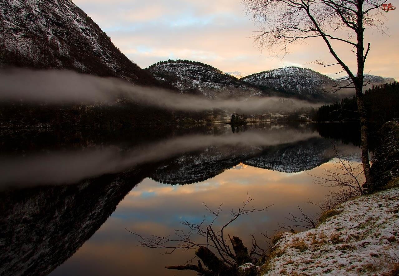 Mgła, Jolstravatnet, Jezioro, Norwegia, Góry, Odbicie