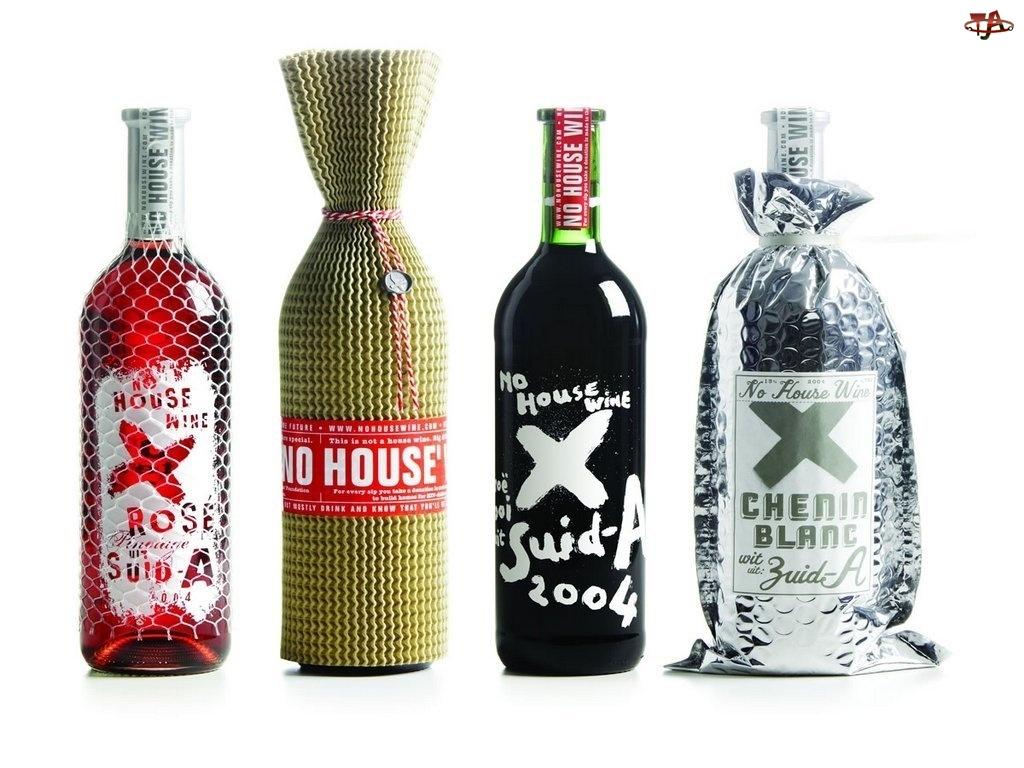Wina, kolorowe butelki