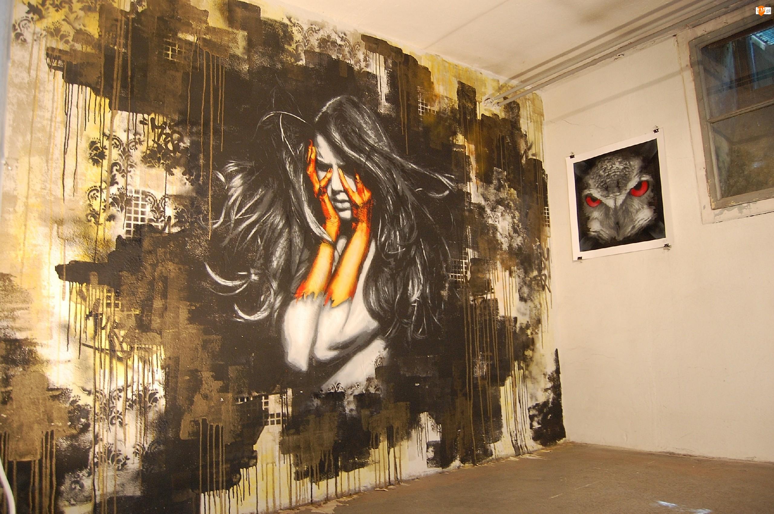 Mural, Kobieta, Street art