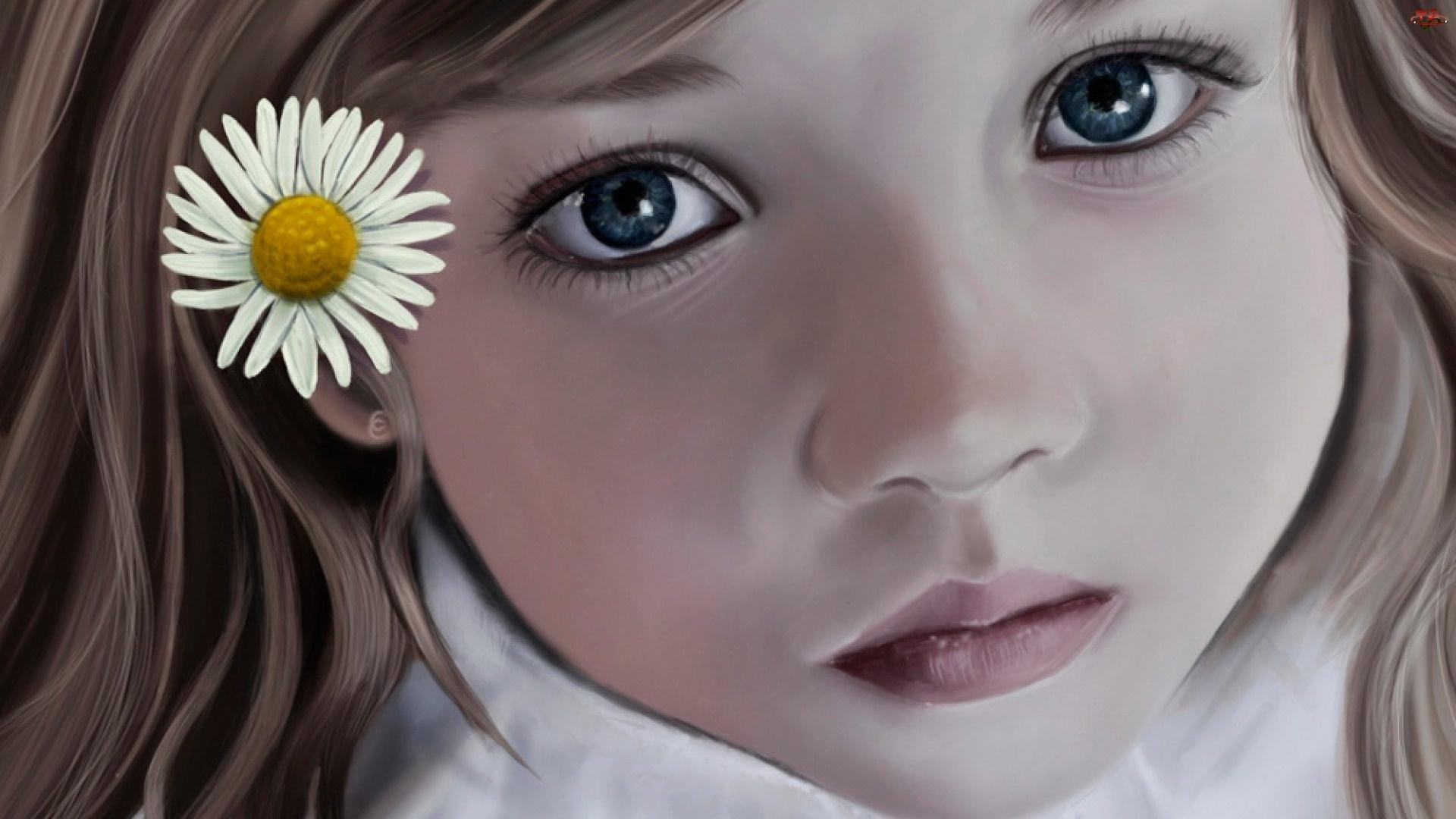 Kwiatek, Dziecko, Smutna, Dziewczynka, Twarz