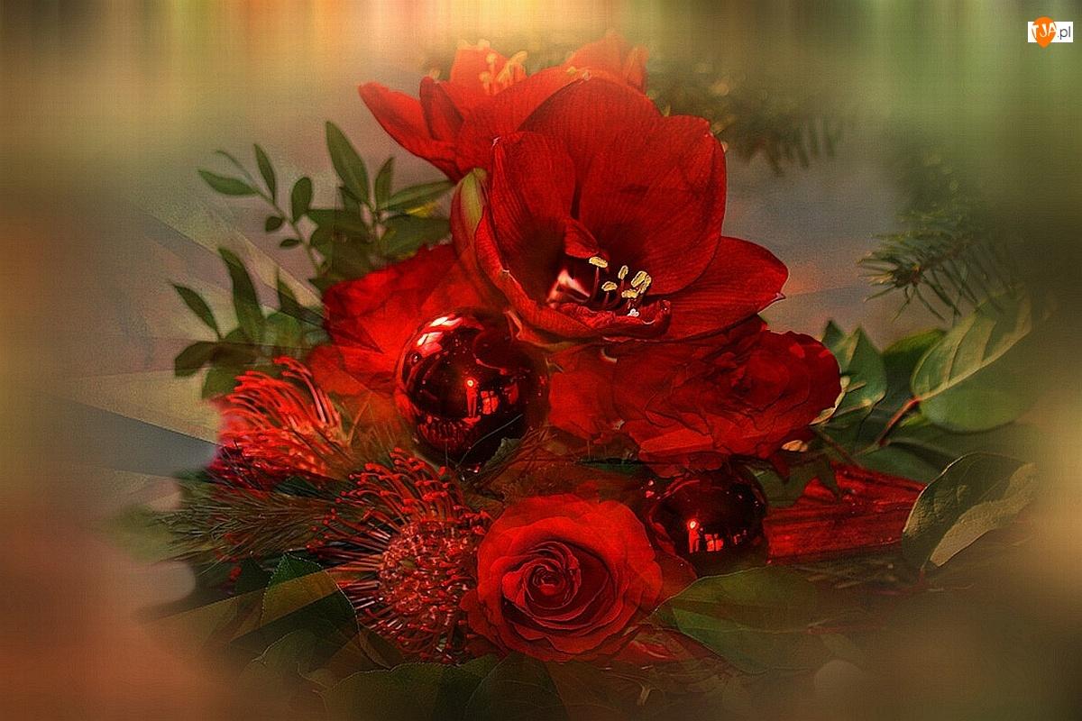 Kwiaty, Świąteczny, Bombka, Stroik